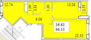 ЖК «Черемушки (Вербилки)», планировка 2-комнатной квартиры, 66.33 м²