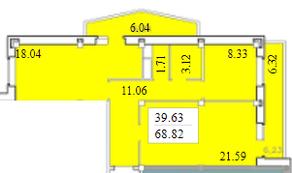 ЖК «Черемушки (Вербилки)», планировка 2-комнатной квартиры, 68.82 м²