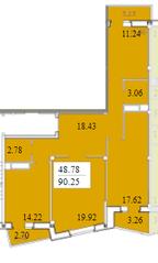 ЖК «Черемушки (Вербилки)», планировка 3-комнатной квартиры, 90.25 м²