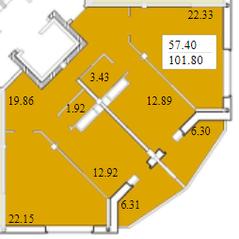ЖК «Черемушки (Вербилки)», планировка 3-комнатной квартиры, 101.80 м²