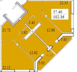 ЖК «Черемушки (Вербилки)», планировка 3-комнатной квартиры, 102.36 м²