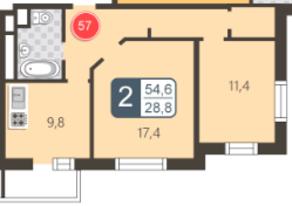 ЖК «На Нижней Первомайской», планировка 2-комнатной квартиры, 54.60 м²