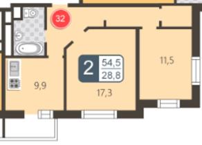 ЖК «На Нижней Первомайской», планировка 2-комнатной квартиры, 54.50 м²