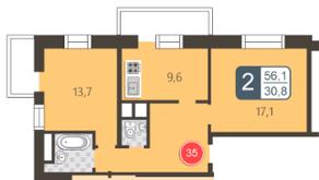 ЖК «На Нижней Первомайской», планировка 2-комнатной квартиры, 56.10 м²