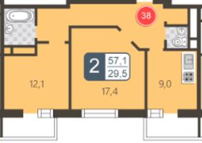ЖК «На Нижней Первомайской», планировка 2-комнатной квартиры, 57.10 м²