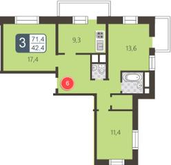 ЖК «На Нижней Первомайской», планировка 3-комнатной квартиры, 71.40 м²