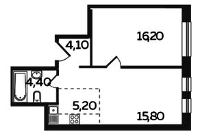 ЖК «Twin House», планировка 2-комнатной квартиры, 45.70 м²