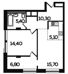 ЖК «Twin House», планировка 2-комнатной квартиры, 57.70 м²