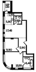 ЖК «Twin House», планировка 3-комнатной квартиры, 66.20 м²