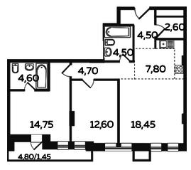 ЖК «Twin House», планировка 3-комнатной квартиры, 75.95 м²