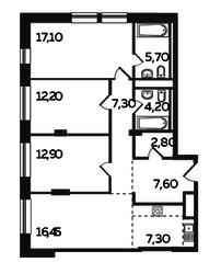 ЖК «Twin House», планировка 4-комнатной квартиры, 93.55 м²
