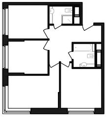 ЖК «Гоголь парк», планировка 3-комнатной квартиры, 65.28 м²