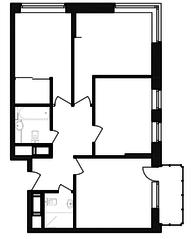 ЖК «Гоголь парк», планировка 3-комнатной квартиры, 73.03 м²