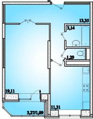 ЖК «Горизонт» (Щелково), планировка 1-комнатной квартиры, 49.29 м²