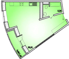 ЖК «Горизонт» (Щелково), планировка 1-комнатной квартиры, 46.63 м²