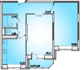 ЖК «Горизонт» (Щелково), планировка 2-комнатной квартиры, 68.29 м²