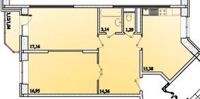 ЖК «Горизонт» (Щелково), планировка 2-комнатной квартиры, 69.32 м²