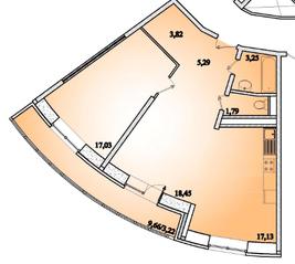 ЖК «Горизонт» (Щелково), планировка 2-комнатной квартиры, 69.98 м²