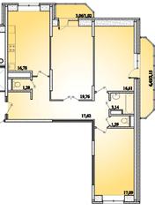 ЖК «Горизонт» (Щелково), планировка 3-комнатной квартиры, 96.74 м²