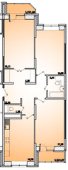 ЖК «Горизонт» (Щелково), планировка 3-комнатной квартиры, 94.03 м²