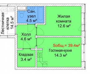 МЖК «Руполис-Растуново», планировка 1-комнатной квартиры, 39.40 м²