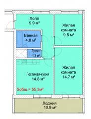 МЖК «Руполис-Растуново», планировка 2-комнатной квартиры, 55.30 м²