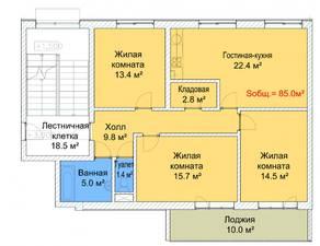 МЖК «Руполис-Растуново», планировка 3-комнатной квартиры, 85.00 м²
