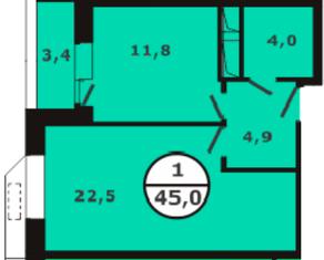 ЖК «Березовая роща» (Видное), планировка 1-комнатной квартиры, 45.00 м²