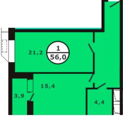 ЖК «Березовая роща» (Видное), планировка 1-комнатной квартиры, 56.00 м²