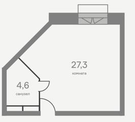 МФК «Отражение», планировка студии, 31.90 м²