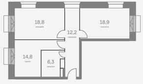 МФК «Отражение», планировка 3-комнатной квартиры, 71.00 м²