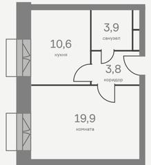 МФК «Отражение», планировка 1-комнатной квартиры, 37.40 м²