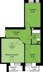 МЖК «Экодолье Шолохово», планировка 2-комнатной квартиры, 51.07 м²
