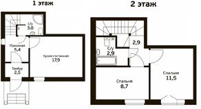 МЖК «Экодолье Шолохово», планировка 2-комнатной квартиры, 88.24 м²