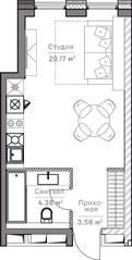 МФК «Mitte», планировка студии, 28.00 м²