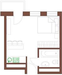 МФК «Янтарь apartments», планировка студии, 25.53 м²
