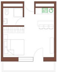 МФК «Янтарь apartments», планировка студии, 29.67 м²