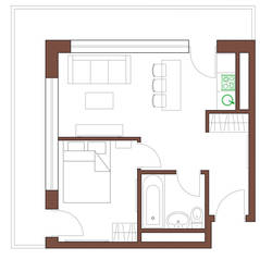 МФК «Янтарь apartments», планировка 2-комнатной квартиры, 45.90 м²