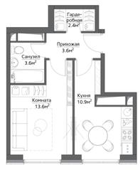 ЖК «Метрополия», планировка 1-комнатной квартиры, 35.90 м²