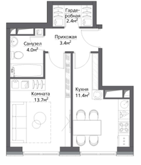 ЖК «Метрополия», планировка 1-комнатной квартиры, 36.50 м²
