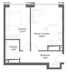 ЖК «Метрополия», планировка 1-комнатной квартиры, 47.10 м²