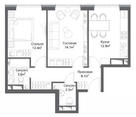 ЖК «Метрополия», планировка 2-комнатной квартиры, 56.30 м²