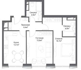 ЖК «Метрополия», планировка 2-комнатной квартиры, 64.30 м²