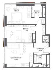 ЖК «Метрополия», планировка 2-комнатной квартиры, 67.90 м²