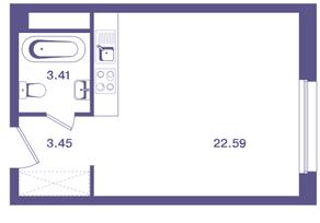 ЖК «Ты и Я», планировка студии, 29.50 м²
