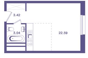 ЖК «Ты и Я», планировка студии, 29.10 м²