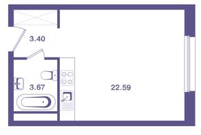 ЖК «Ты и Я», планировка студии, 29.70 м²