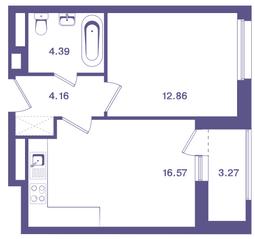 ЖК «Ты и Я», планировка 1-комнатной квартиры, 39.60 м²