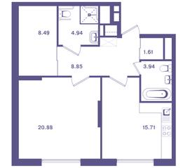 ЖК «Ты и Я», планировка 1-комнатной квартиры, 64.40 м²