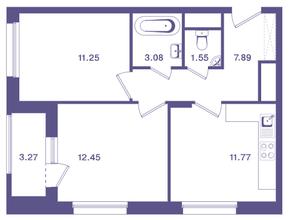 ЖК «Ты и Я», планировка 2-комнатной квартиры, 49.60 м²